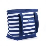 ACAPULCO Plážová termo taška malá, pruhy - námořnická modrá, 39 x 15 x 27 cm