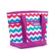ACAPULCO Plážová termo taška malá,  fialová zigzag, 39 x 15 x 27 cm