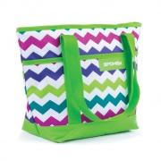 ACAPULCO Plážová termo taška malá zelená zigzag 39 x 15 x 27 cm